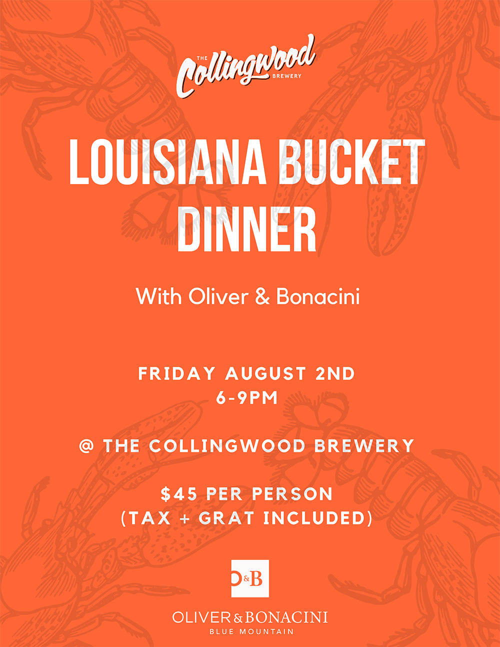 Does down home Cajun cooking and superb craft beer pairings grab your fancy? Join us Friday August 2, 6 pm to 9 pm at The Collingwood Brewery for a scrumptious Louisiana Bucket dinner catered by Oliver & Bonacini.  Stay tuned for full menu and live entertainment details!   SOLD OUT