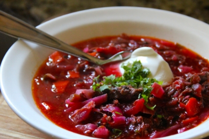 Borscht   Hearty vegetable soup with beets.