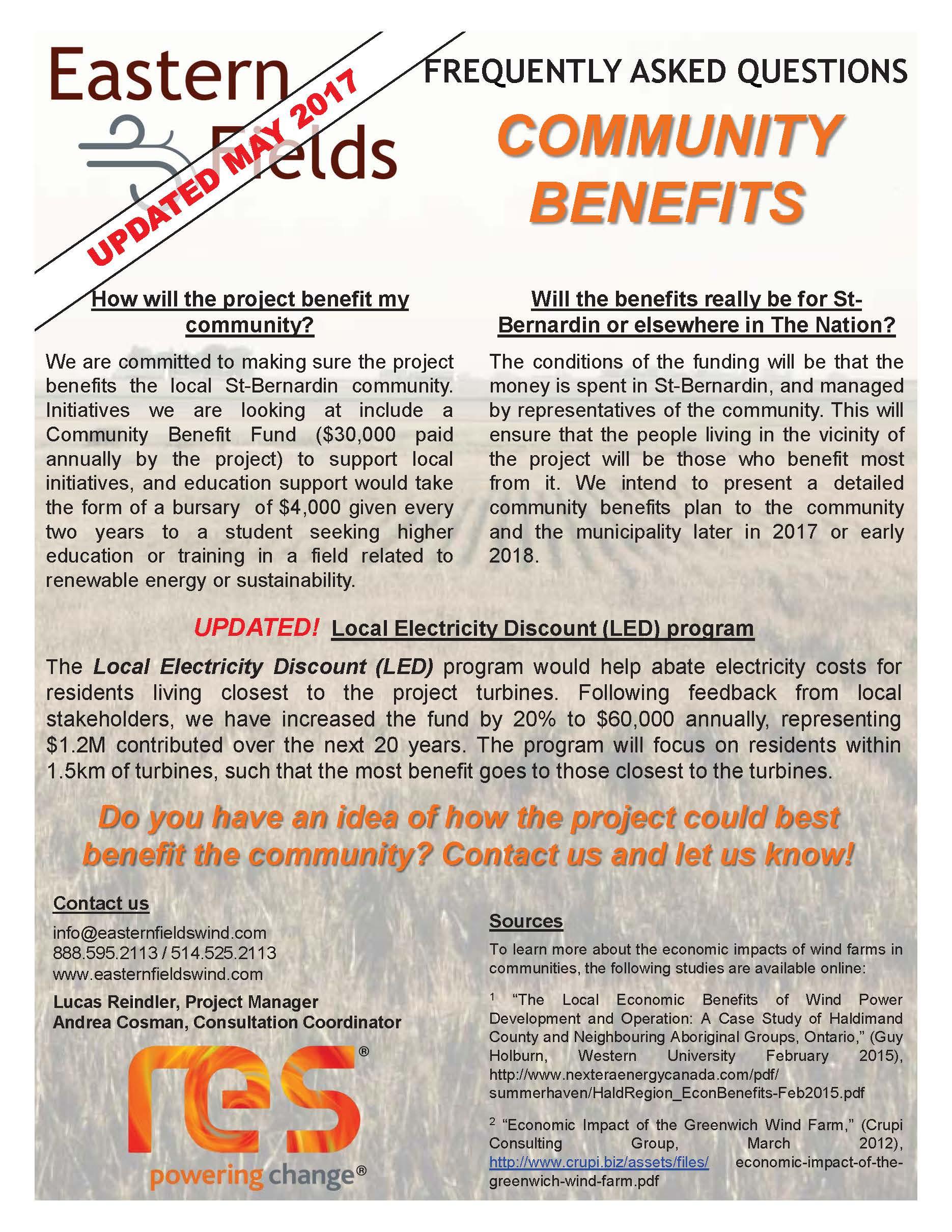 COMMUNITY BENEFITS -   UPDATED
