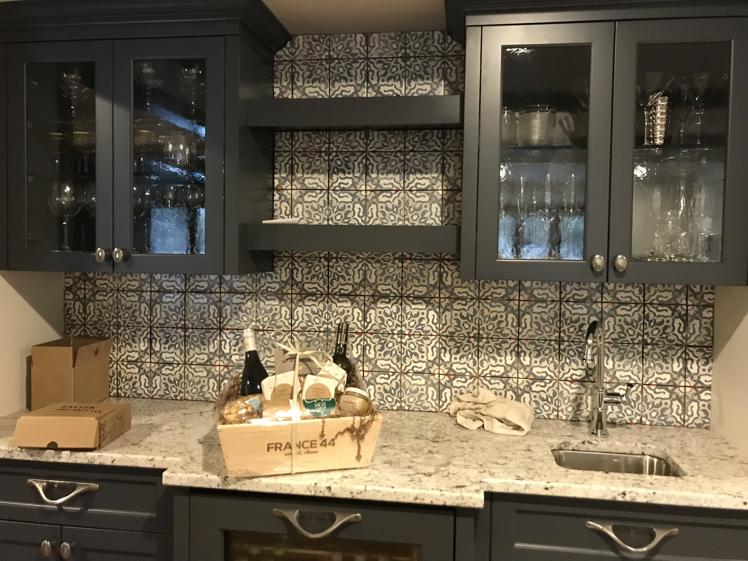 Love this tile selection in this wet bar that we just did in a condo