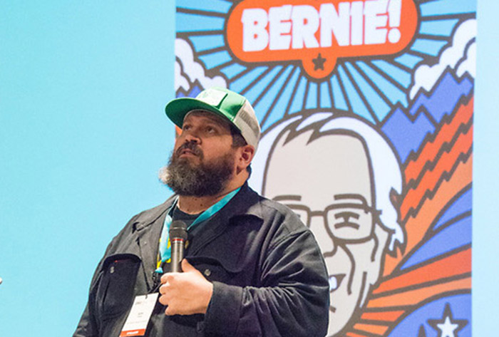 Aaron Draplin presenting is a much needed open hand slap to your design conscience -  photo courtesy of Kimberly Beck Rubio