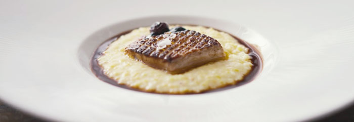 Mashama Bailey's signature Foie Gras with Grits -  Image Courtesty of Netflix