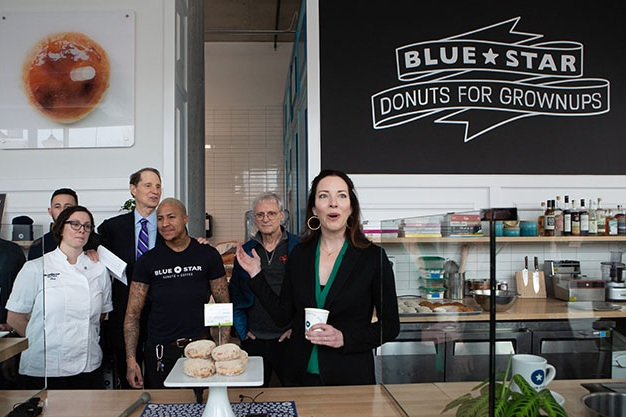 CEO and Co-Founder Katie Poppe at the Blue Star Donut CBD Launch  Alan Weiner photos, courtesy Blue Star Donuts