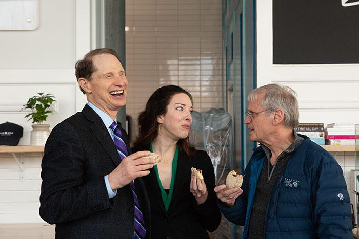 CEO and Co-Founder Katie Poppe with U.S. Senator Ron Wyden and Rep. Earl Blumenauer at the Blue Star Donut CBD Launch  Alan Weiner photos, courtesy Blue Star Donuts