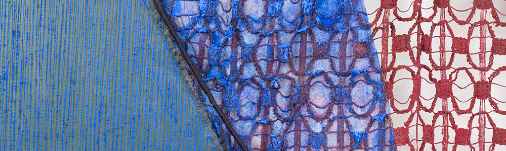 Spring Shadow , 2015 Linen, silk, curtain, ink, and oil paint 87 by 87 inches (221 x 221 cm)