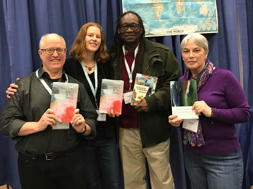 Lucian Childs, Martha Amore,Anand Prahlad and Julie LeMay at the University of Alaska Press/Permafrost Magazine booth at AWP 2017