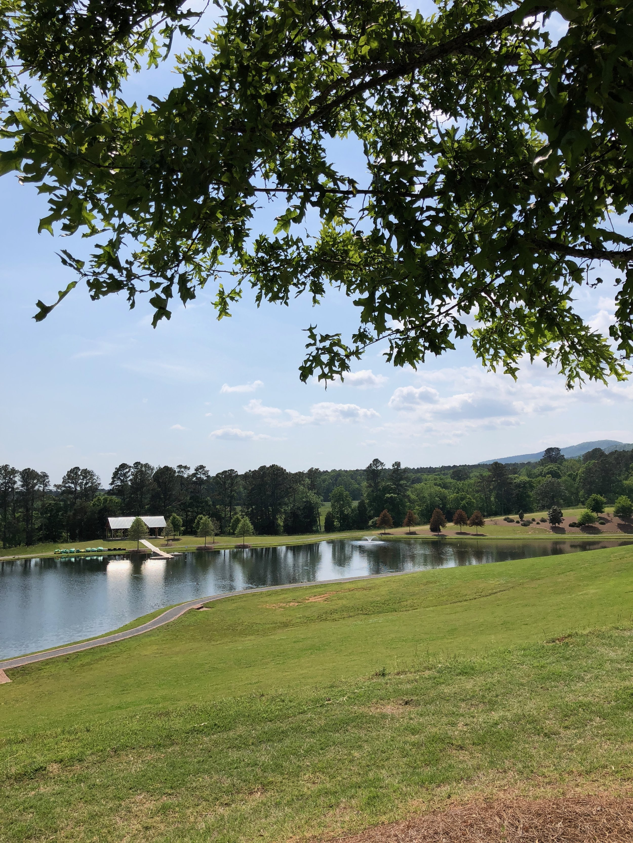 The lake behind the WinShape Marriage retreat center buildings