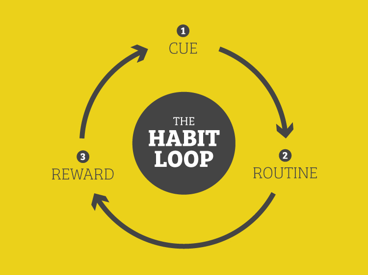 There are three components to the Habit Loop: Cue, Routine, Reward.