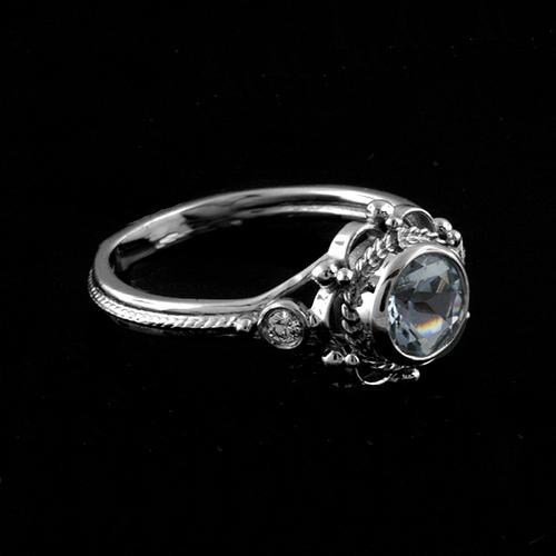 Victorian+Style+Round+Bezel+Set+Aquamarine+Stone+And+Diamonds+Engagement+Ring+14k+White+Gold.jpg