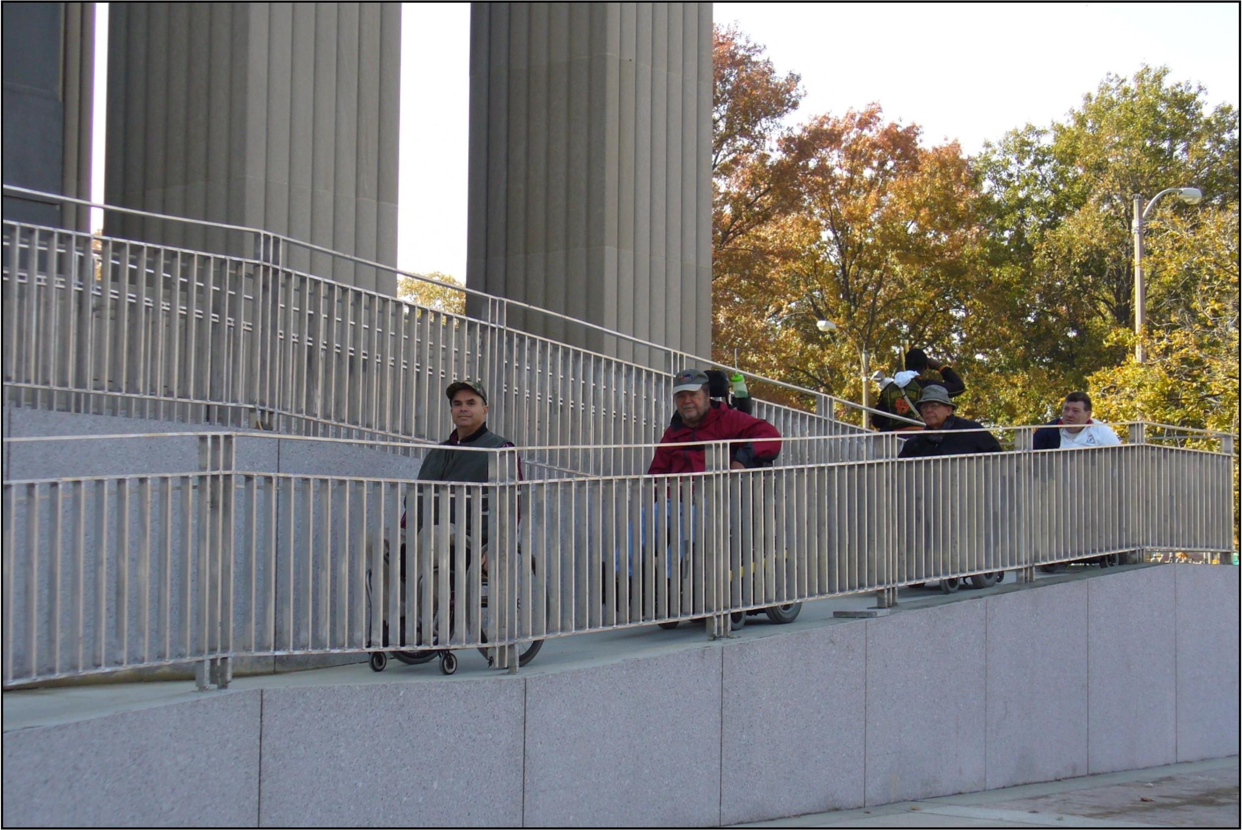 Vets on new Soldiers Memorial ramp.JPG