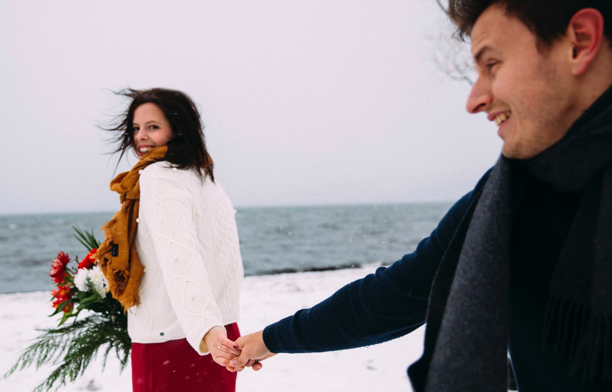 Winter engagement at Gyro beach in Kelowna