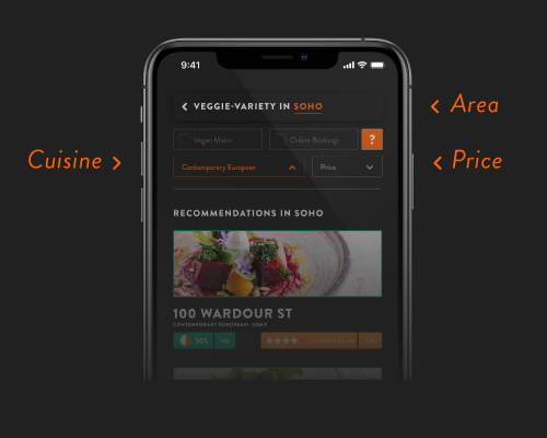 Search as you normally would - Food is not all about 'dietary requirements', but nowadays it can feel like that. We go old-school here: Search by area, cuisine and price. We show you the relevant restaurants with most plant-based variety.