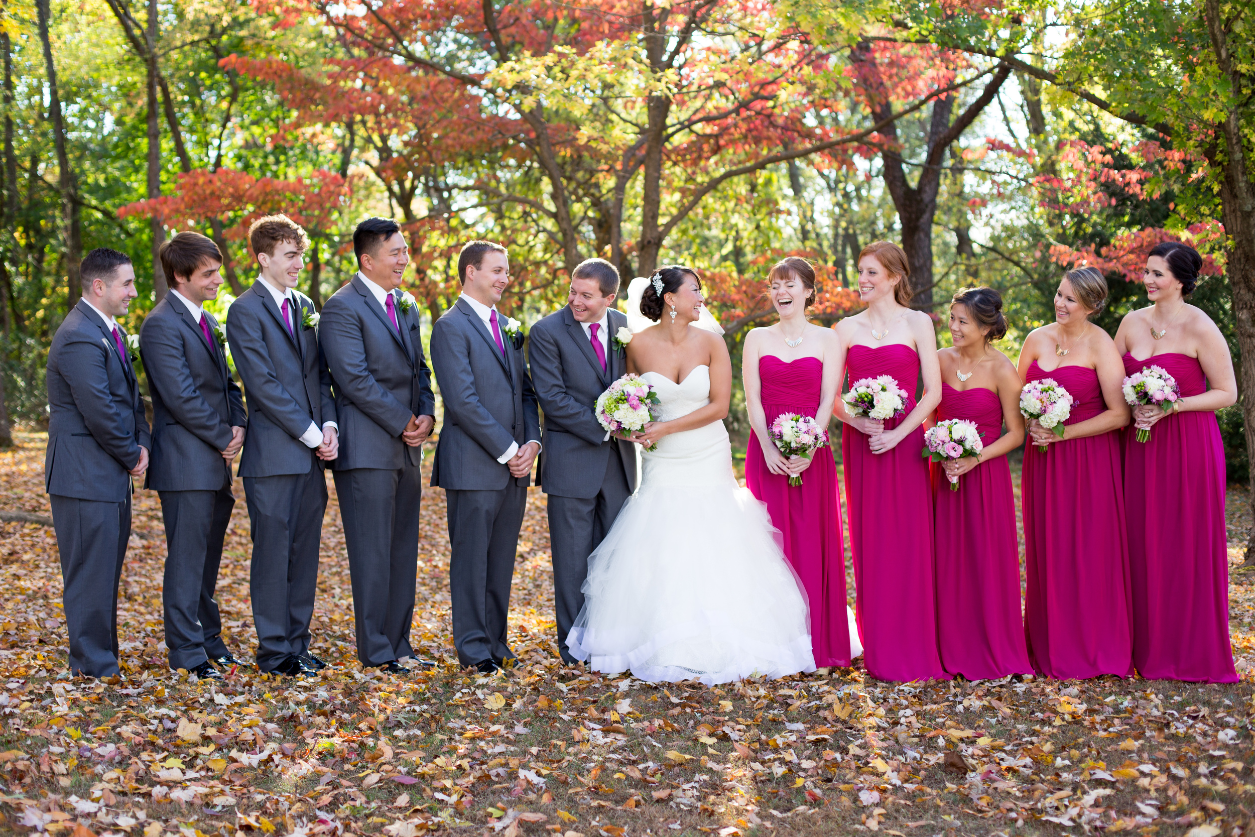 Fall NJ Wedding New Jersey Wedding Photography Pink Bridesmaids Dresses