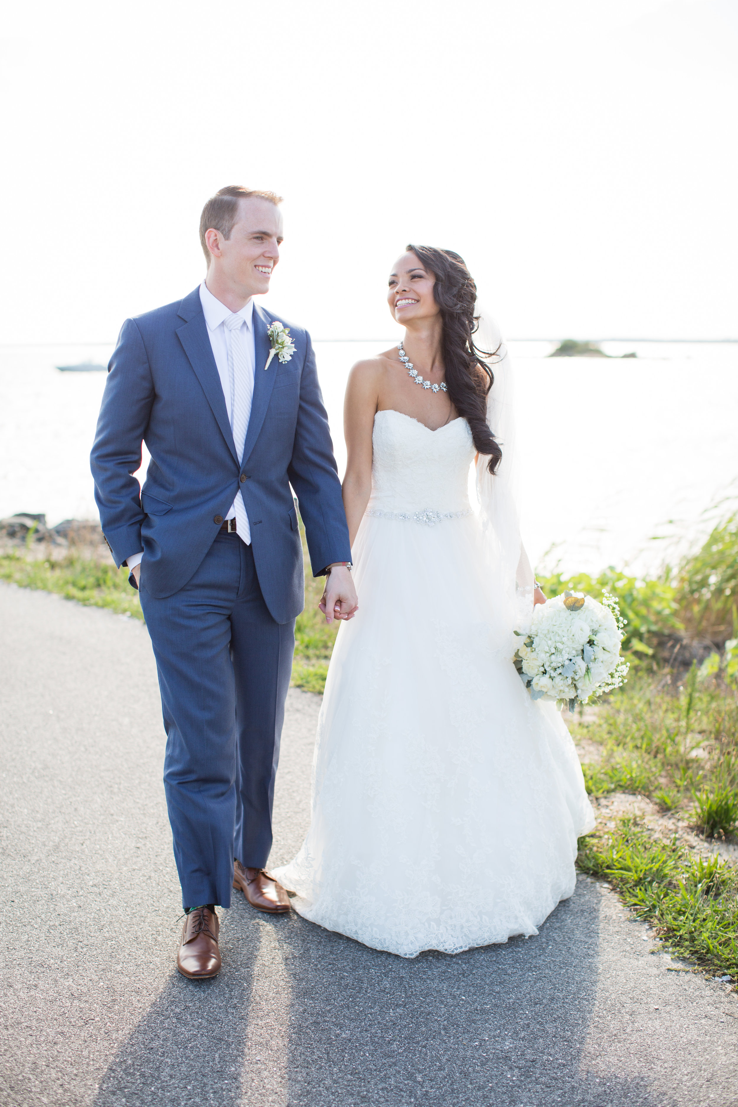 LBI Wedding Photography Bride and Groom walking hand in hand