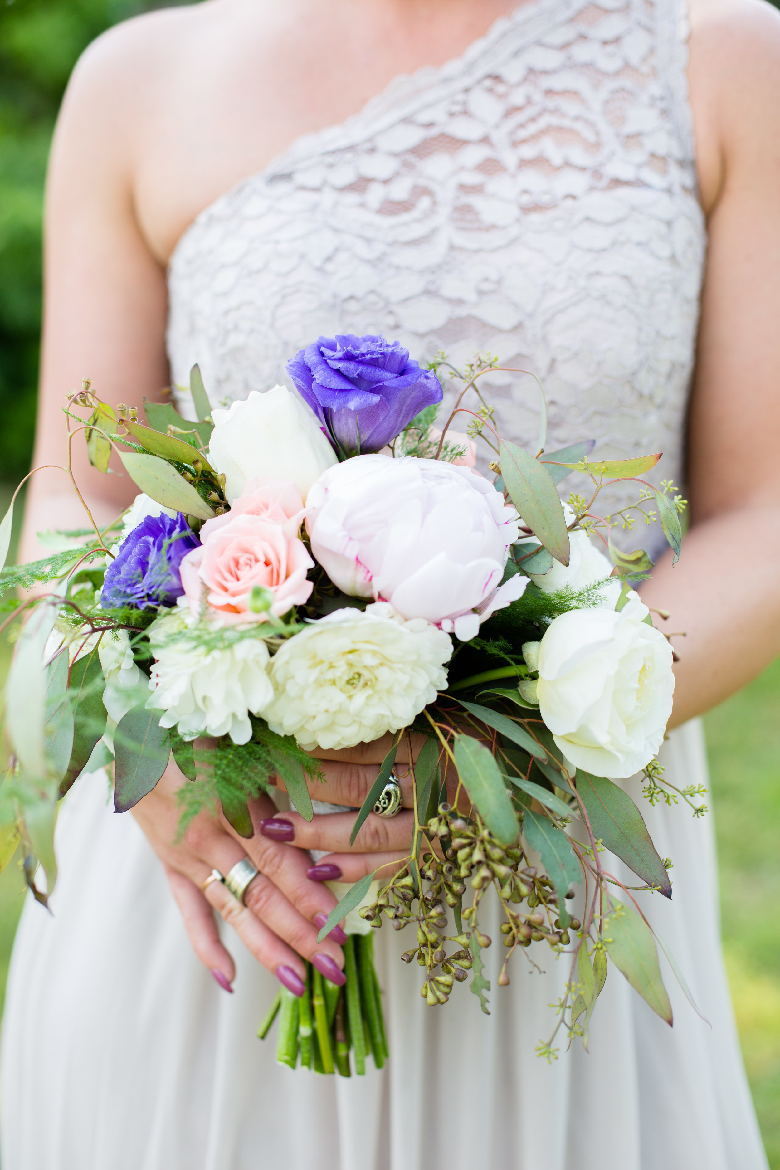 Claypit creek wedding photography NJ Wedding Boquet Green, White, and Purple
