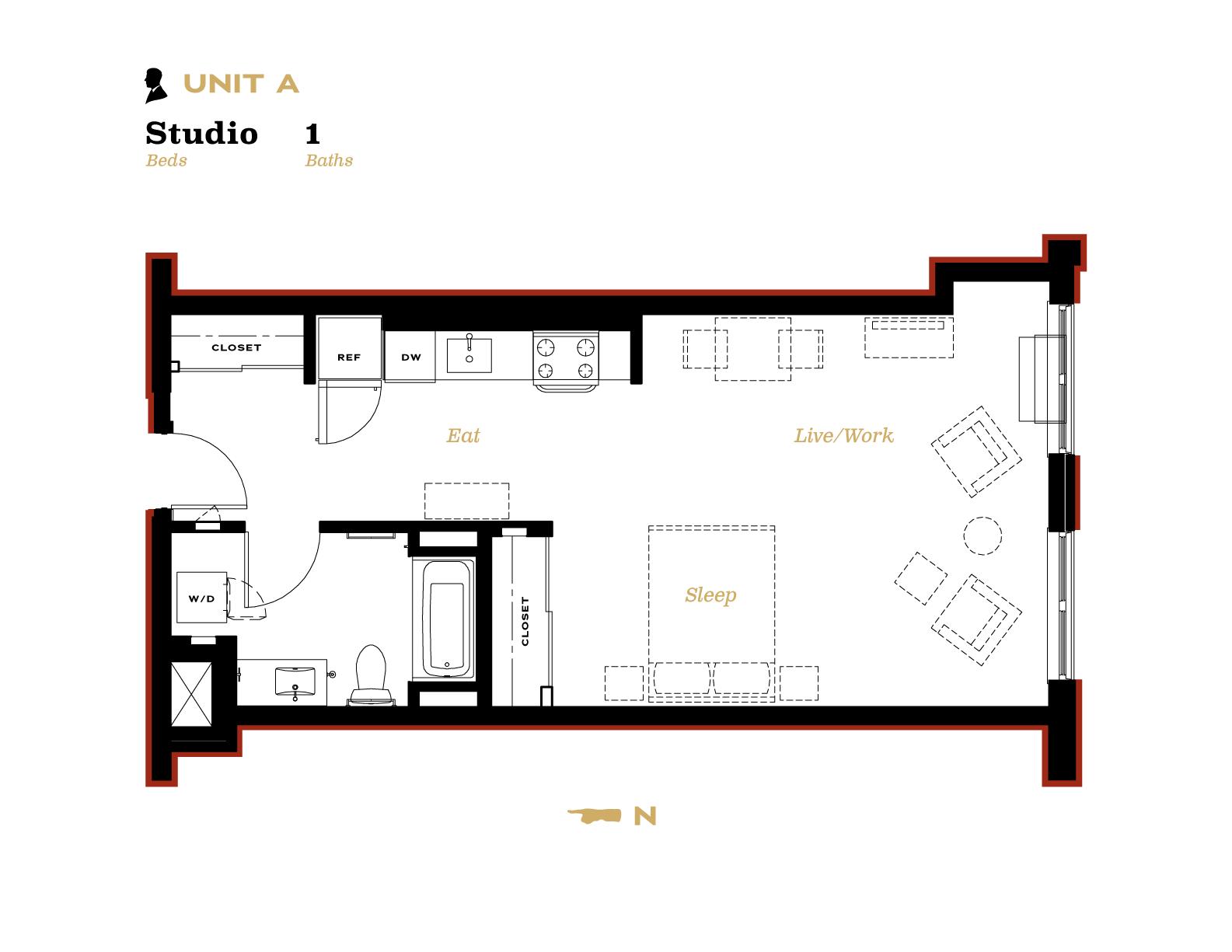 Unit A Studio with one bath floor plan