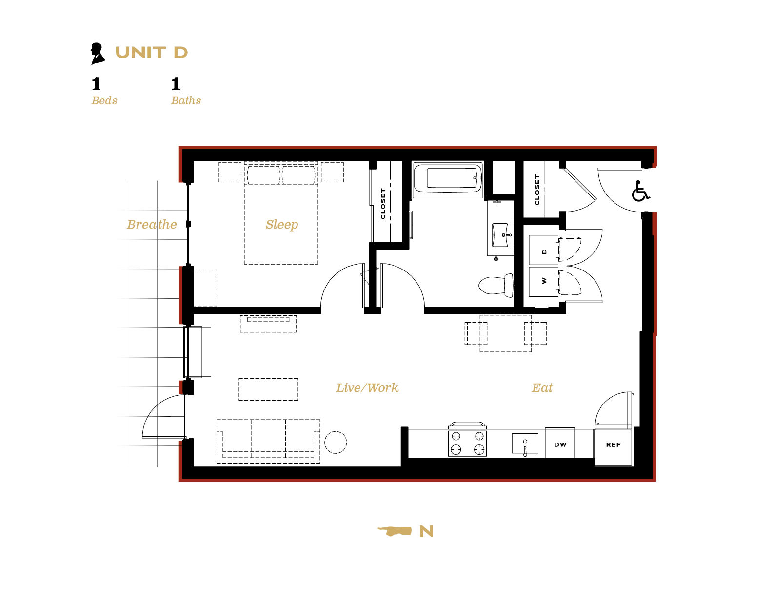Unit D Unit D One bedroom with one bath floor plan