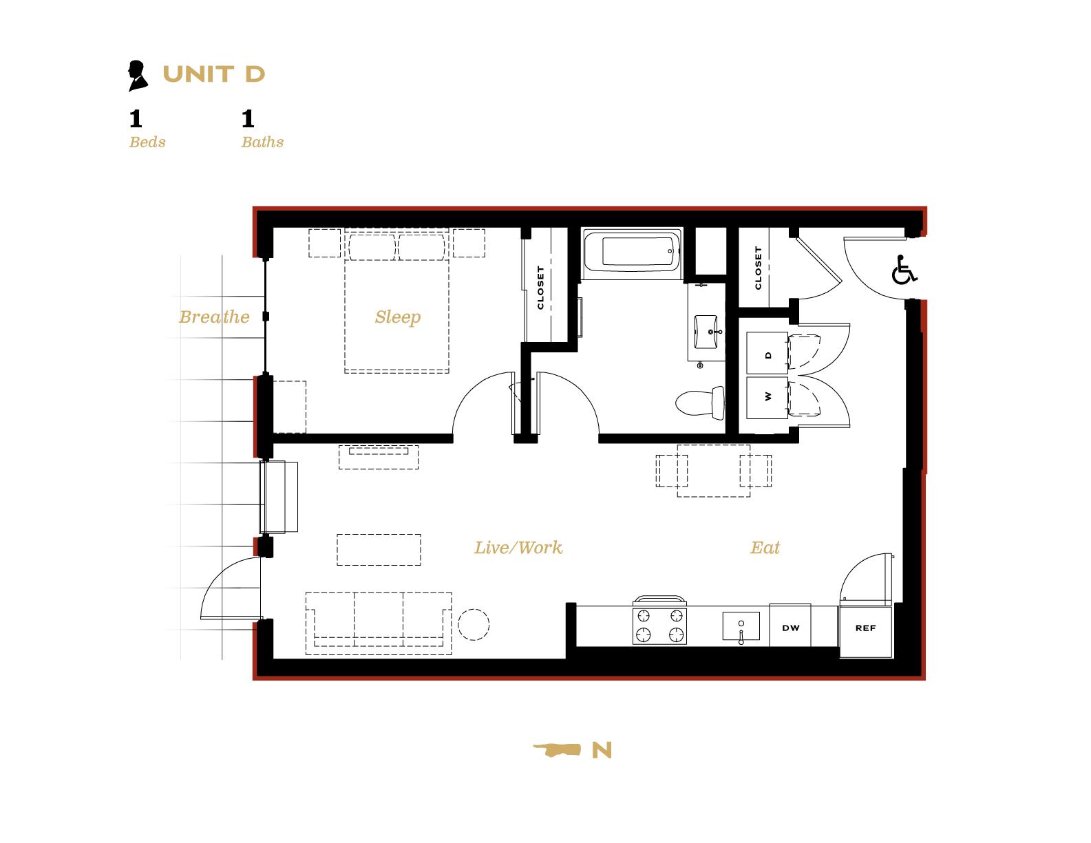 Unit D Unit D One bedroom with one bath floor plan