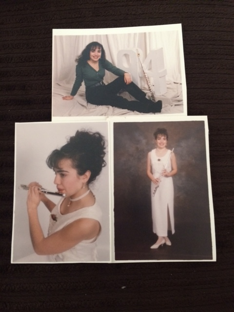 The Guardado that's afraid of the ball, posing with her Big Hair &flute, 1994