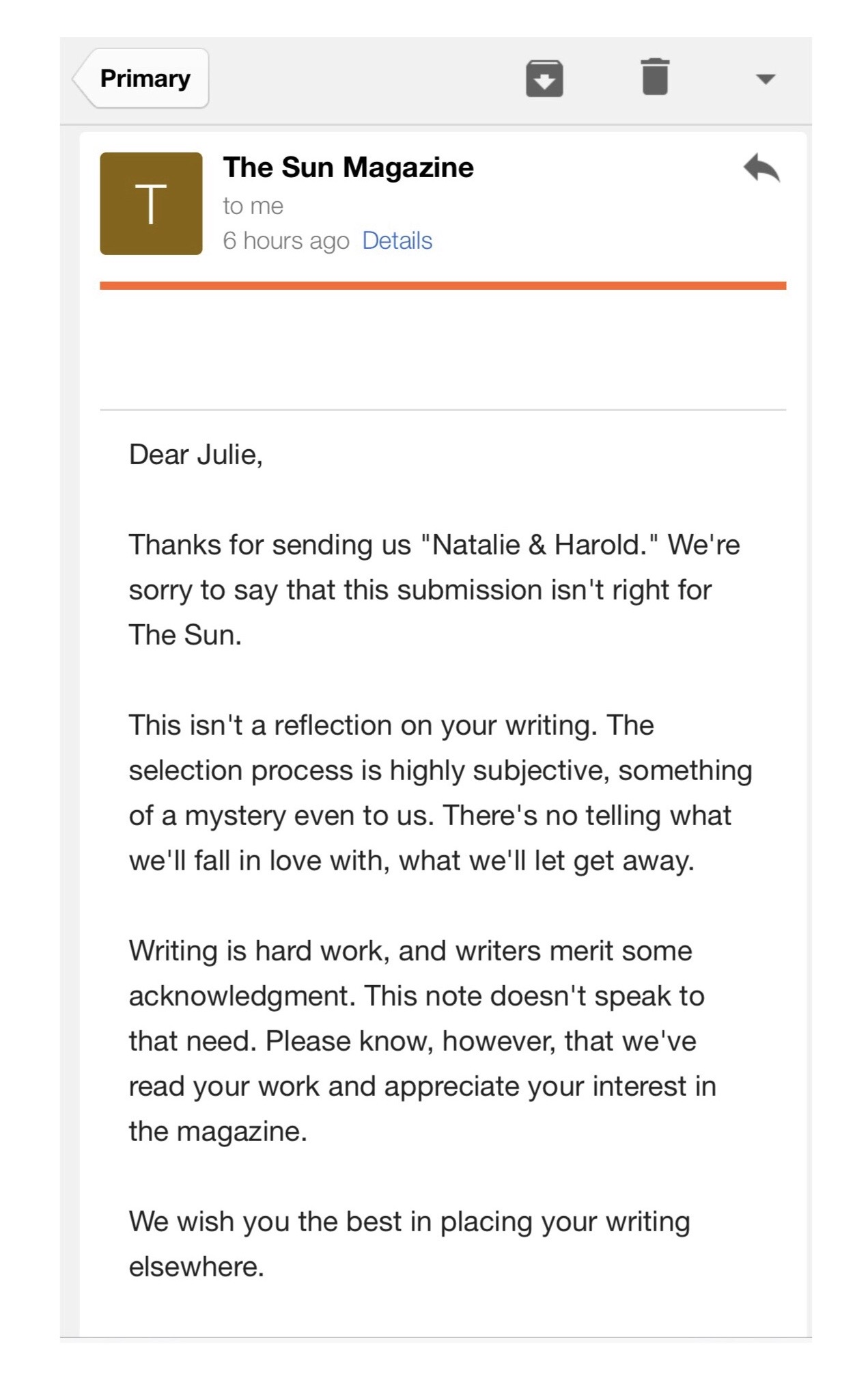 Rejection Letter - Thanks for writing!