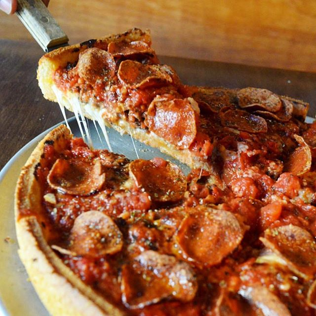 """When people ask, """"What's California deep dish like?"""" we say, 'It's like normal deep dish, but with like, bacon 'n' stuff.' Check out the All-Star; bacon, sausage, ham and meatballs. 🥓 . . . ——— #instaeats #seriouseats #eatfamous #dailyfoodfeed #thestarpizza #spoonfeed #ilyfoodgram #eatfamous #eater #myfab5 #feedfeed #huffposttaste #forkyeah #foodrepublic #sfeats #sanfrancisco #eatersf #noms #foodstagram #littlestarpizza #instafood #foodmento #grubzone #lunch #happyhour"""