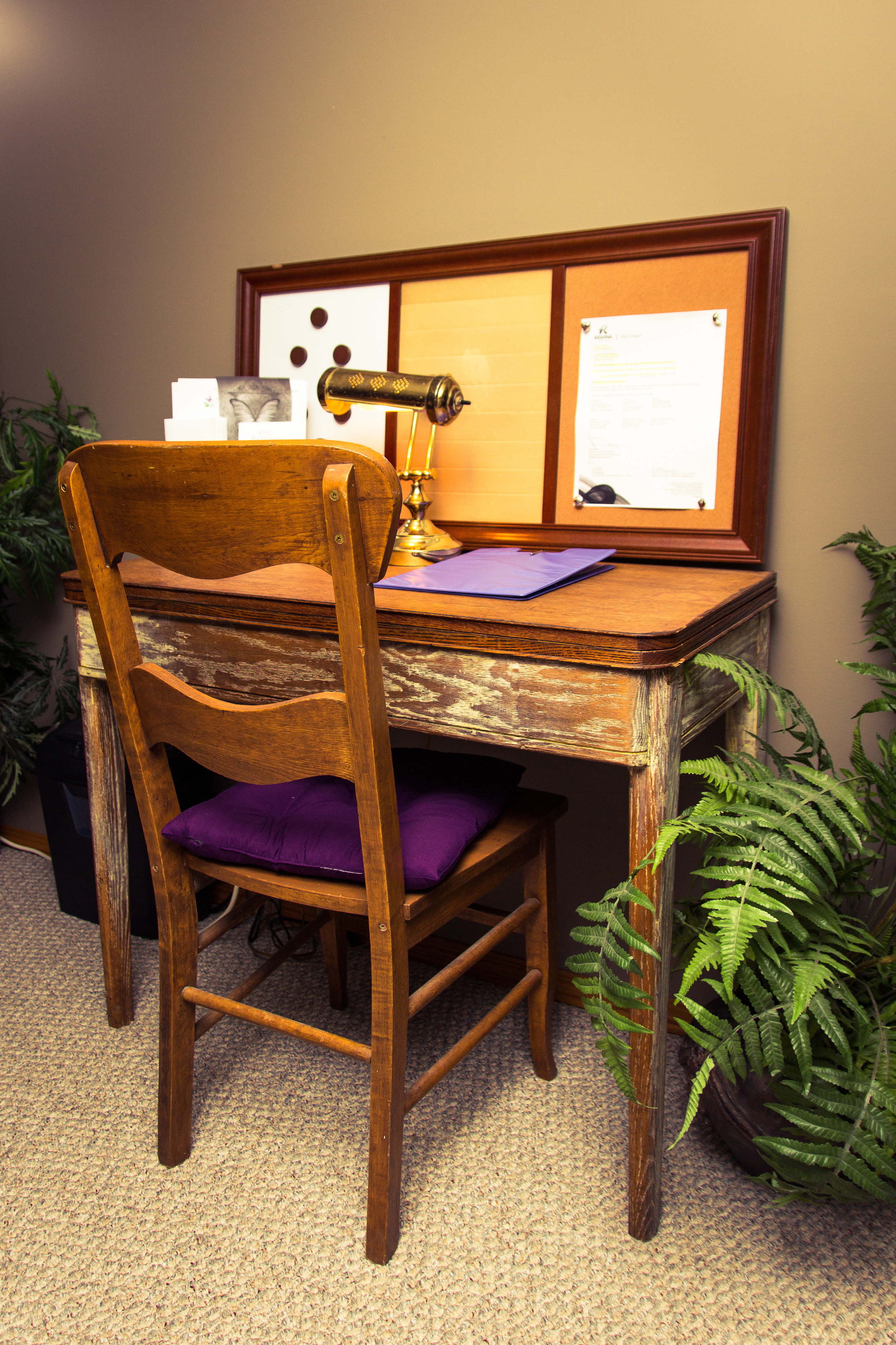 make sure to fill out your form before you come or arrive a little early to sit at this antique desk.