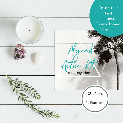 Available now.  Daily soul-aligned action steps, to help you create your first (or next) online passive income product in just 14 days.