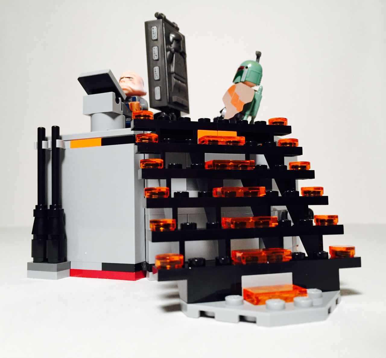 The stairs do look great with the use of the 1x2 trans-orange pieces.