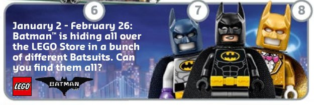 LEGO announced the in-store Accessory Pack promotion via their January store calendar