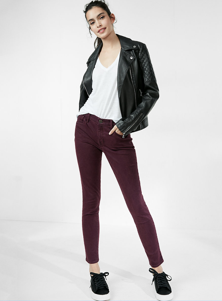 Express Mid Rise Five Pocket Stretch Leggings, Color: Very Berry, Size: 8 Regular $69.90