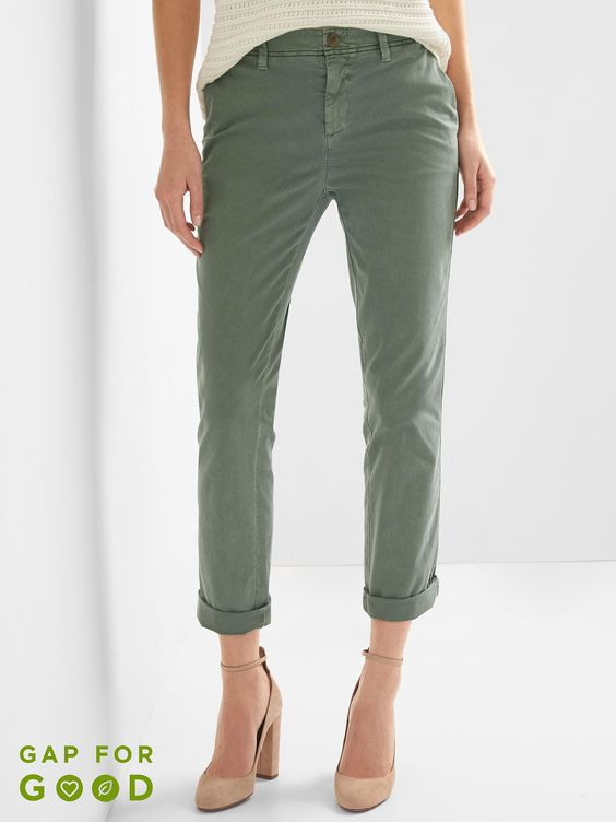 Gap Girlfriend Twill Stripe Chinos, Color: Cucumber Peel, Size: 8 Regular $59.95