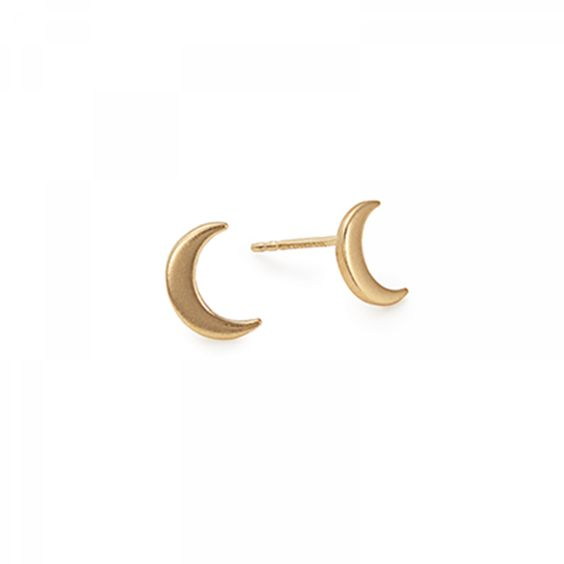 Moon Post Earrings, Color: Gold Plated $48.00
