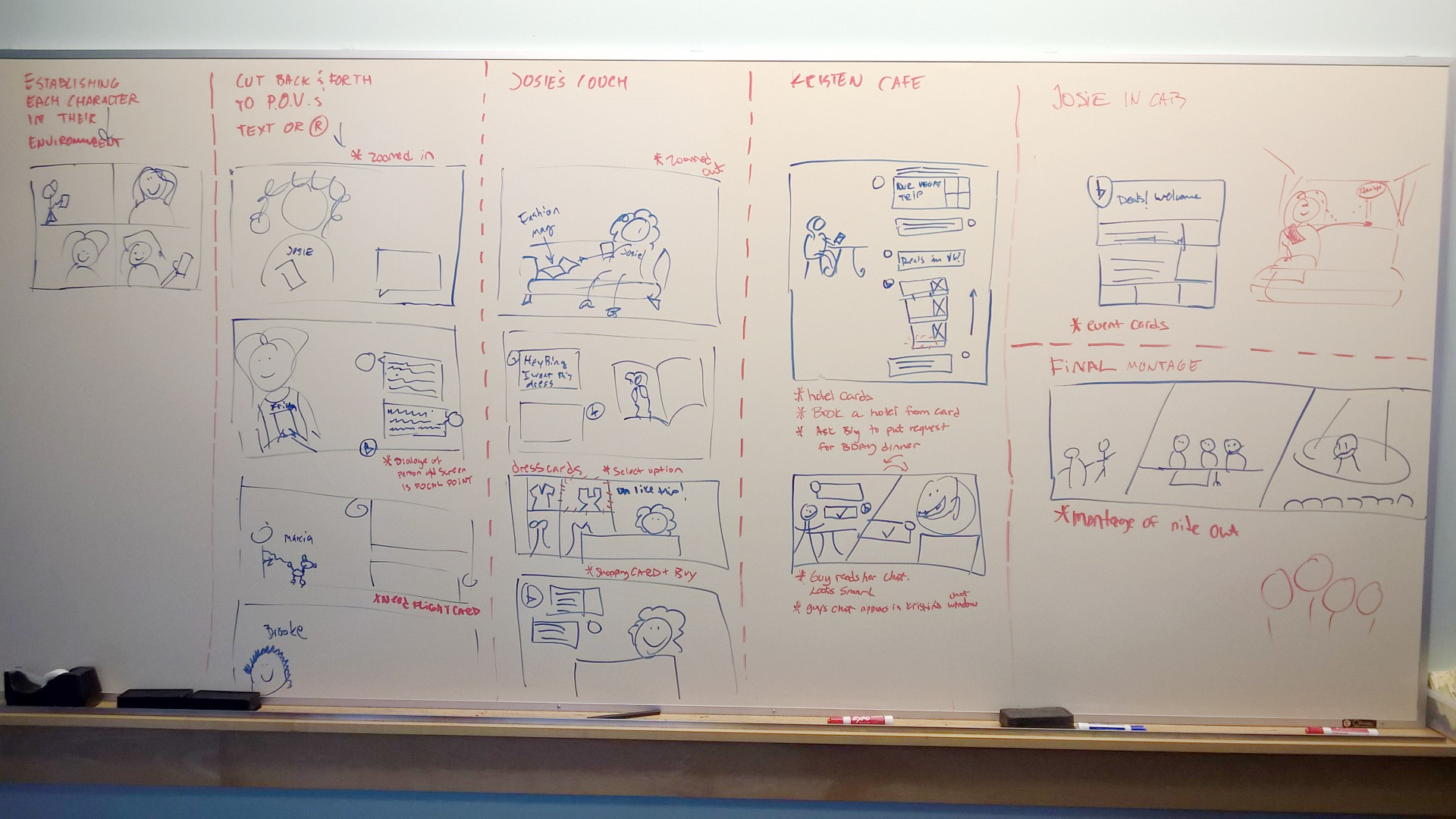 Whiteboard sketch setting sequence of scenes with my design partner