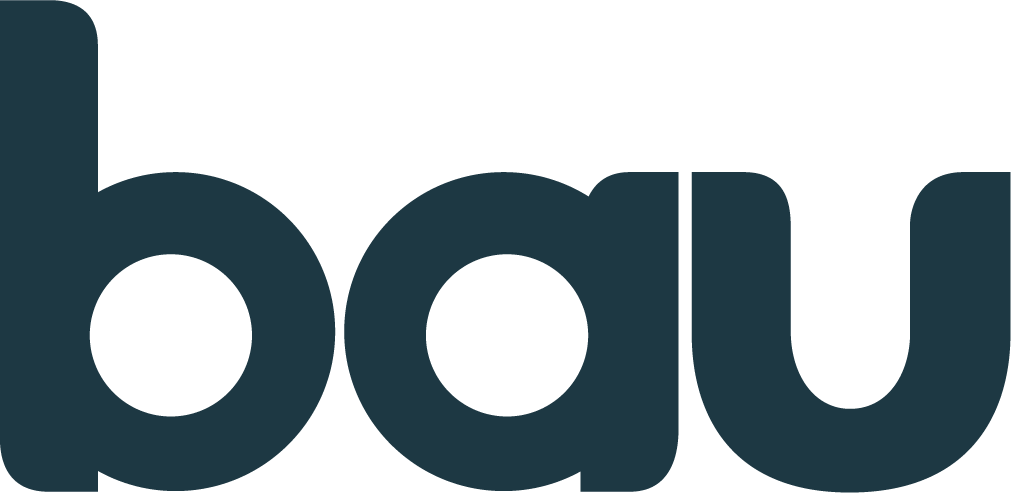 Bau Logo in secondary blue
