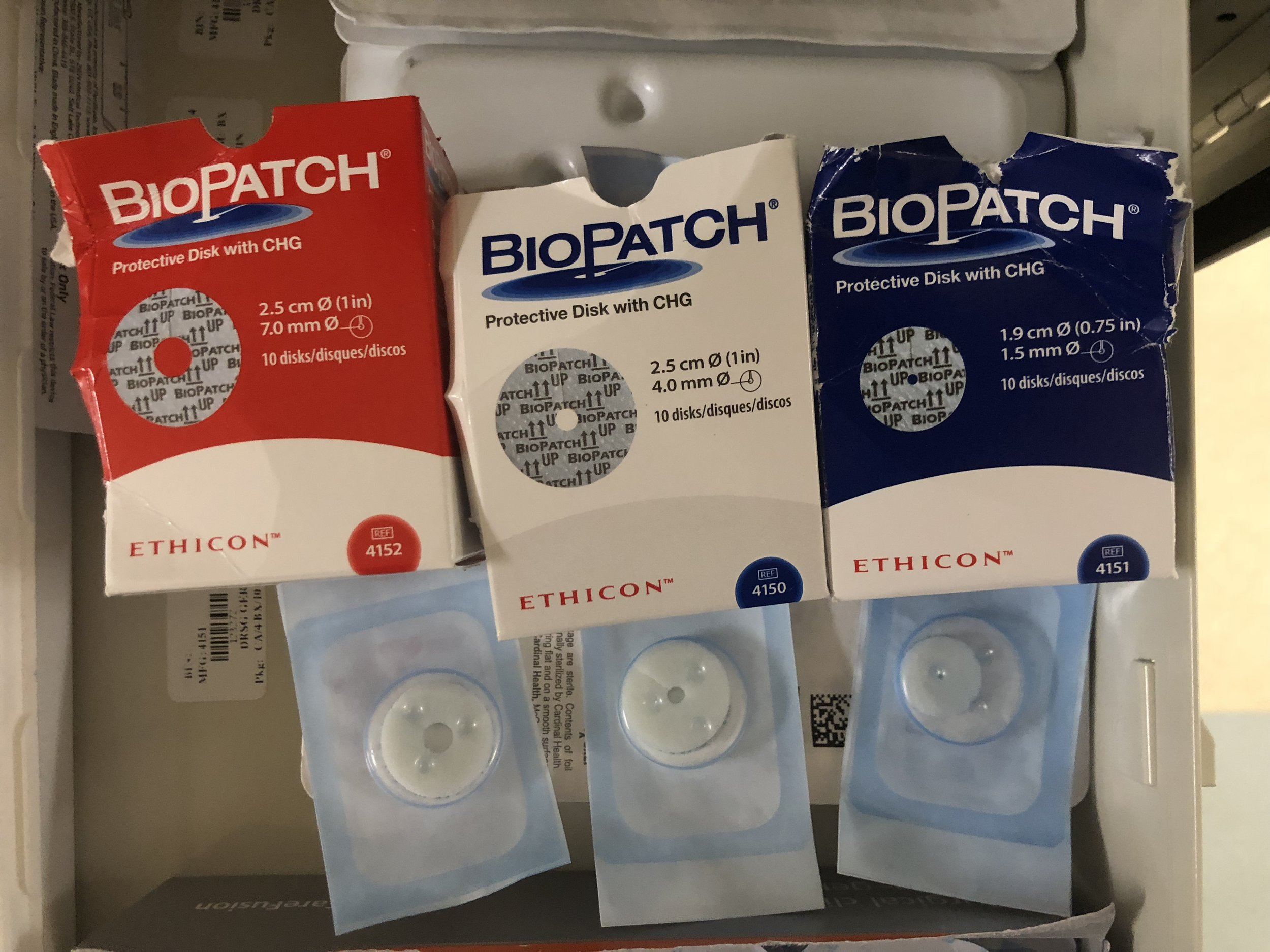 The biopatch is used to help prevent line infection. We stock three sizes - the red (largest) is used for large bore lines such as a vascath or trialysis, the white (middle sized) is used for triple lumen or quad lumen catheters, and the blue (smallest) is used for a-lines