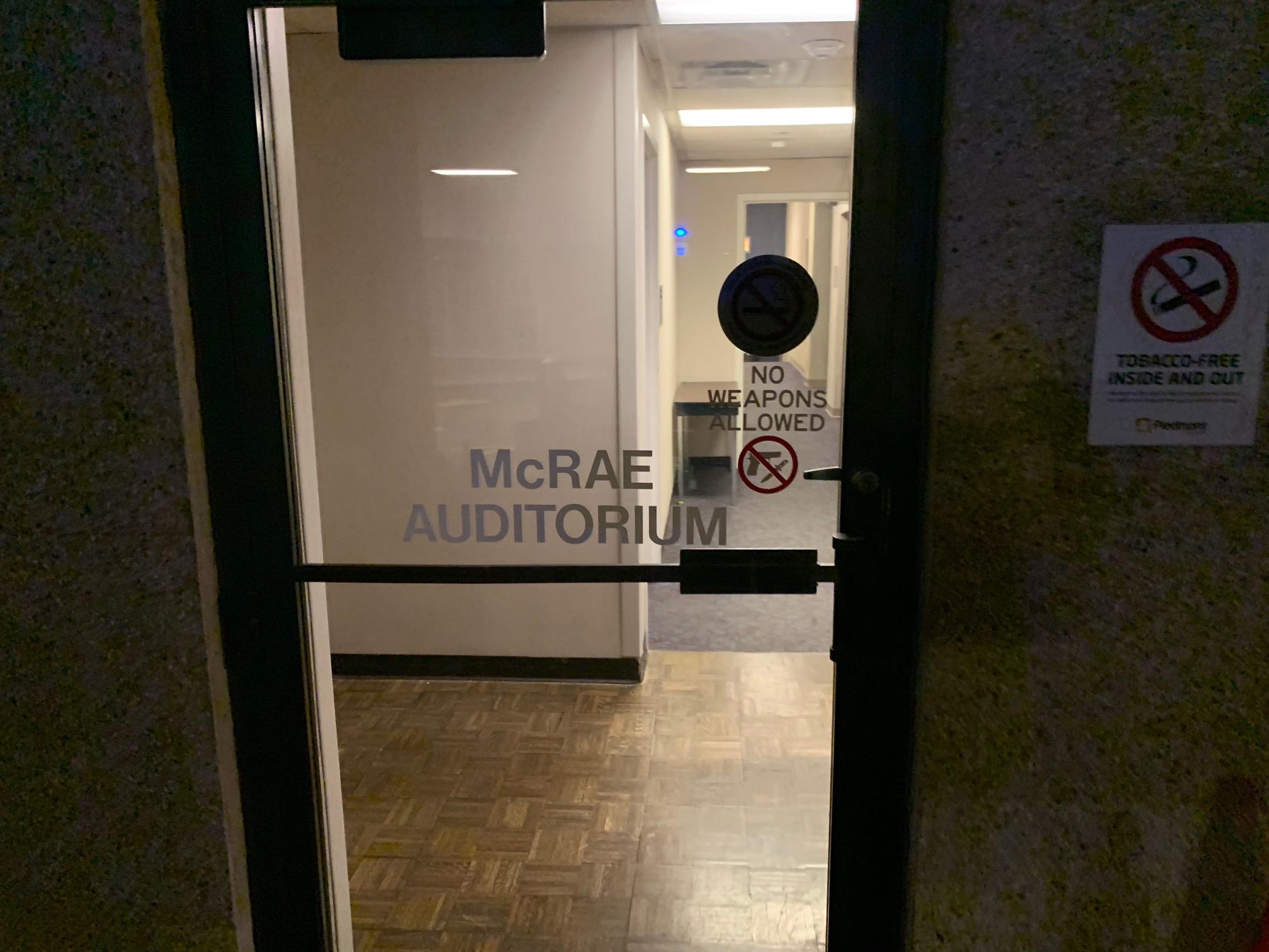 Entrance to McRae Auditorium