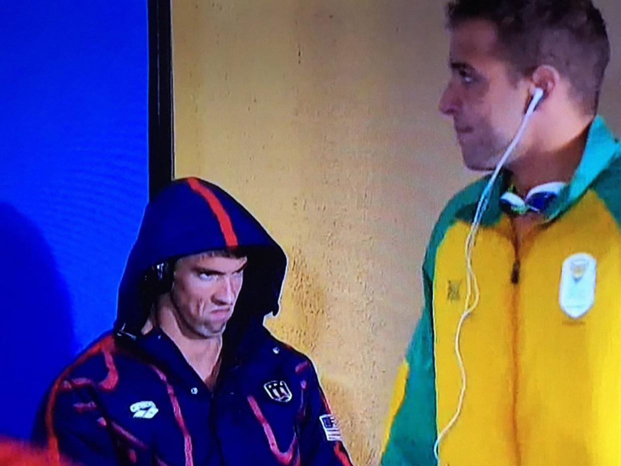 Phelps Face? More like getting ready to dominate. Reminds me of another incredible athlete...