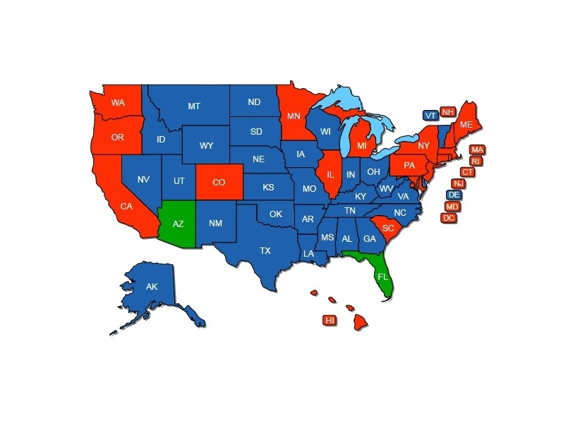 Arizona and Florida Reciprocity Map (states in blue recognize the non-resident permit).