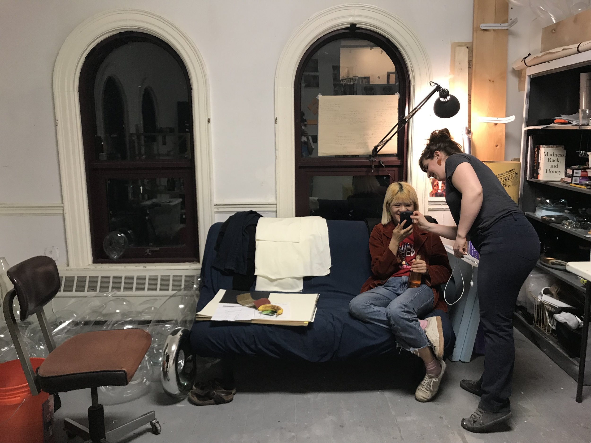 Yufei Quan (MFA '19) and Karin Forslund (MFA 19') during a late night in studio
