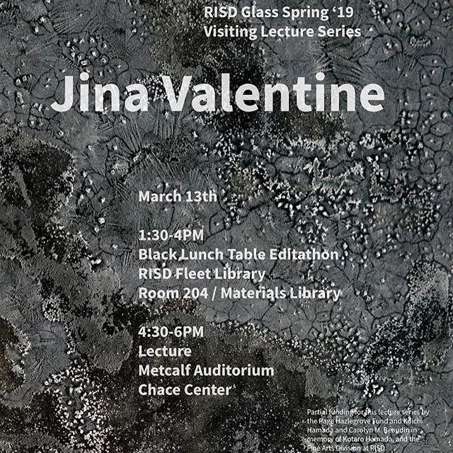 We are delighted to welcome Visiting Artist Jina Valentine to the RISD campus and hope to see you tomorrow at one or both of her events.  Jina Valentine will give a talk tomorrow on her interdisciplinary practice which activates conversations on sociopolitical critique, text as image, papermaking, oral history archiving, and humanizing big data.  We hope to see you there!