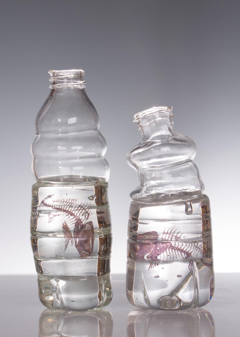 "Fish in Bottles  2015 Glass, enamel decal 9"" x 8"" x 3"""