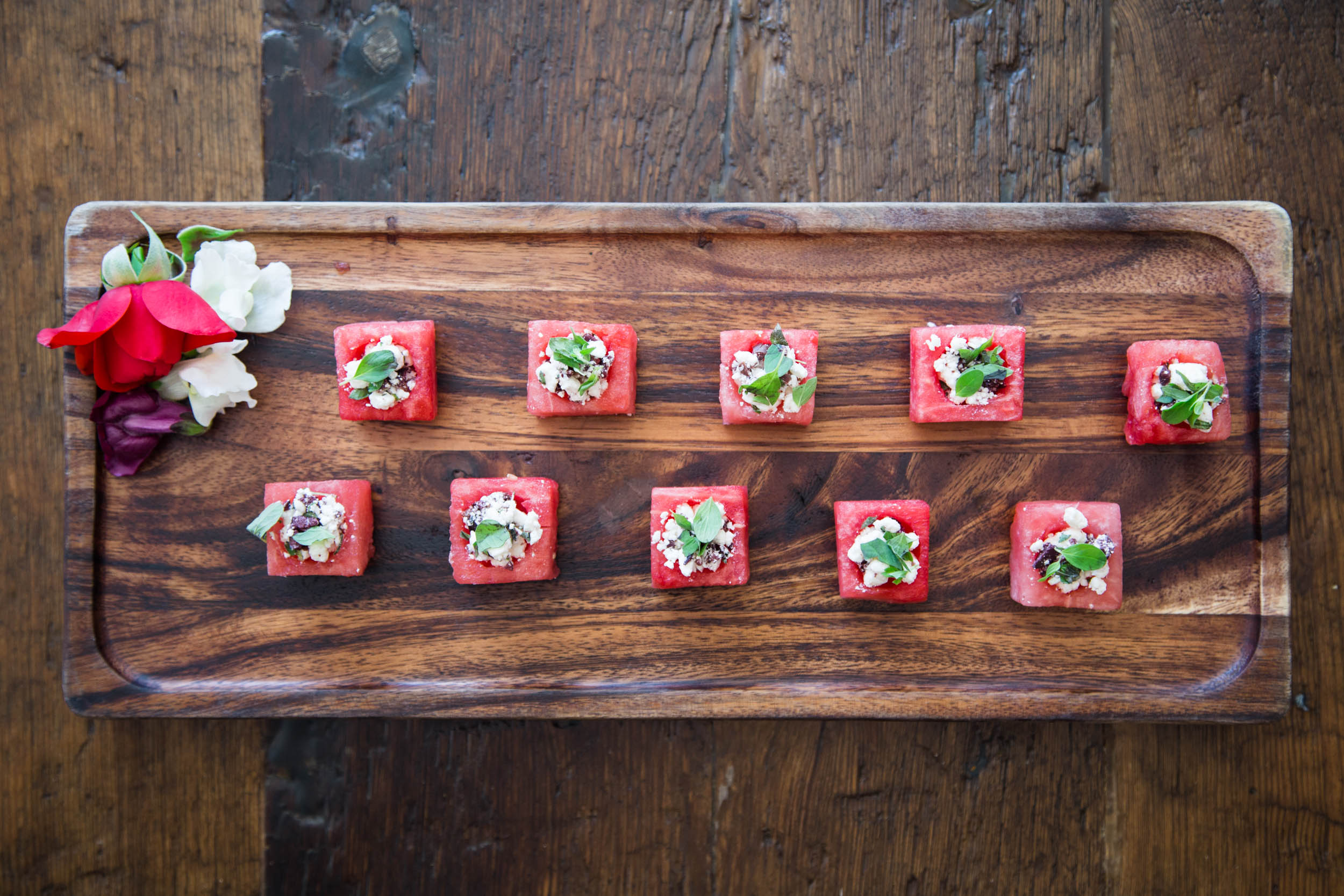 Feta, Black Olive, and Marjoram in Watermelon Cup