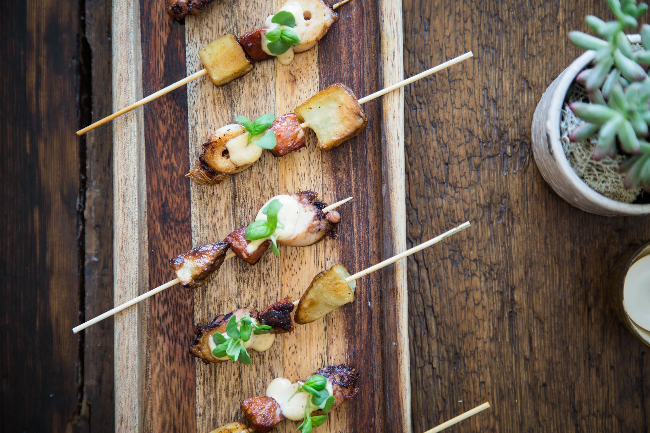 Braised Octopus Skewer with Maine Potatoes, Chorizo, and Lemon Aïoli
