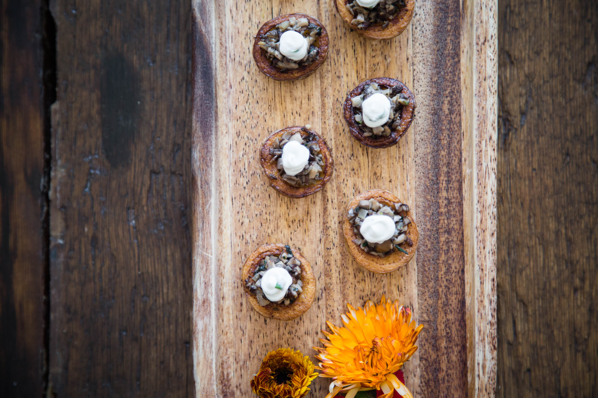 Wild-Foraged Mushroom-Stuffed Red Bliss Potato with Chive Crème Fraîche