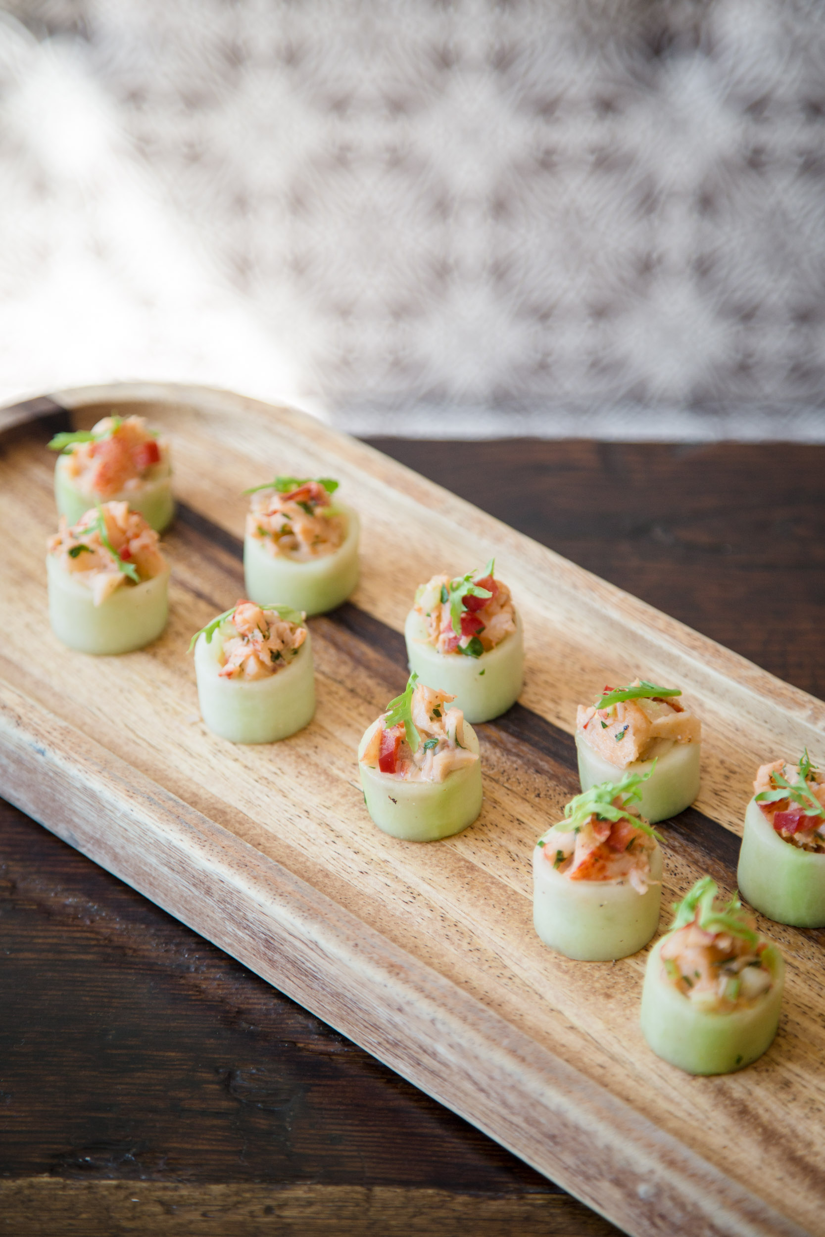 Lobster Salad in a Cucumber Shot Glass with Frisée