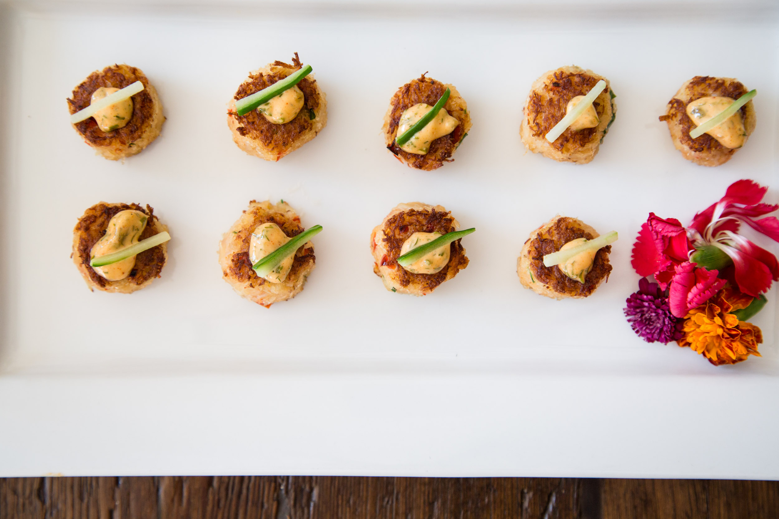 Crispy Crab Cake with Cucumber Batons and Remoulade