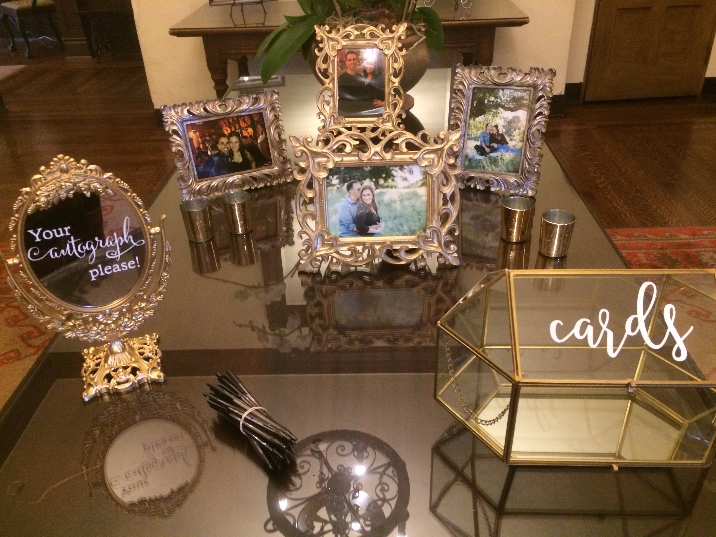 Our bride and groom's welcome table at the Riviera Mansion in Santa Barbara, California.