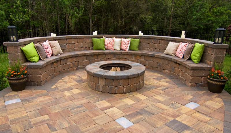 Trap Caps can be seen on the Fire Pit and also lining the top of the seating wall.