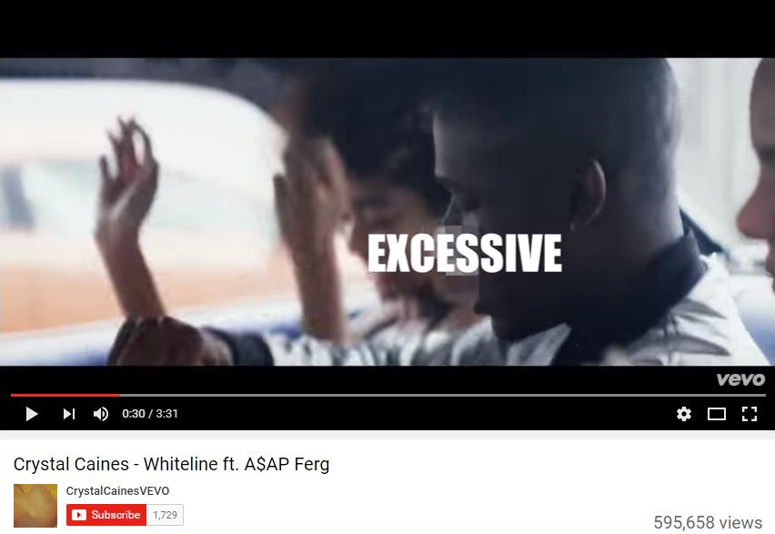 """""""Whiteline"""" Crystal Caines feat A$AP Ferg Source:  YouTube"""