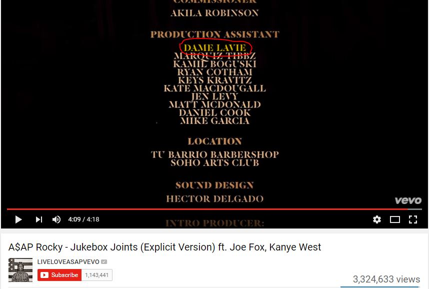 """Production Assistant Credit A$AP Rocky """"Jukebox Joints"""" Source:  YouTube"""